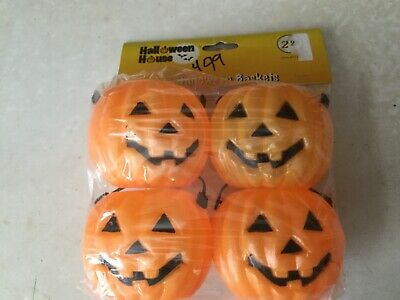 """$5.50 • Buy NOS Package Of 4 Halloween House Blow Mold 2.5"""" Tall Halloween Baskets"""