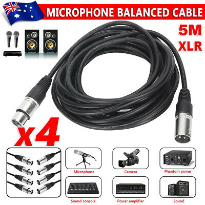 AU23.95 • Buy 4 Pack Of 5m Balanced Microphone Cables XLR Male To Female Mic Lead Connector