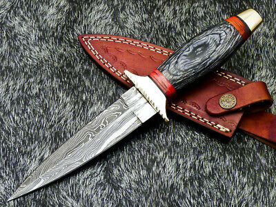 $25.89 • Buy Authentic HAND FORGED DAMASCUS 11  DAGGER KNIFE WITH HARD WOOD HANDLE - UT-169