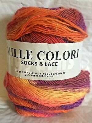 $11.95 • Buy One Skein Lang Yarns Mille Colori Socks & Lace Verigated Purple Reds Yellow NOS