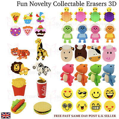 Novelty Fun 3D Erasers School Rubbers Stationery Safari Animals Moving Parts • 1.99£