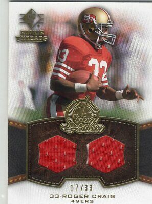 $1.99 • Buy 2008 SP Rookie Threads Roger Craig Stitch Time Dual Game-Used Jersey 17/33 (P4)