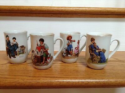$ CDN24.85 • Buy Norman Rockwell Museum Porcelain Coffee Tea Cups Mugs 1982  Lot Of 4