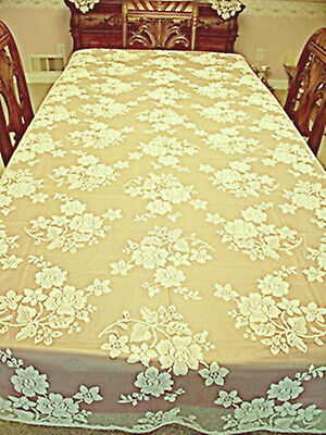 $35.50 • Buy Rose Bouquet  60x84 Ivory Rectangle Lace Tablecloth Oxford House NWOT