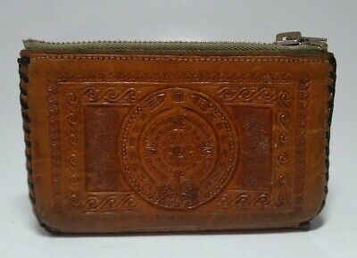 $14.97 • Buy Vintage Brown Leather Coin Purse Mexico Stitched Edge Zip Closure 4 Inches Snaps