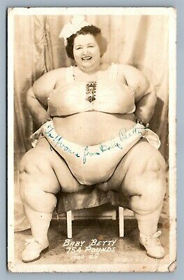 $ CDN145.09 • Buy Signed ! Sideshow Baby Betty Circus Fat Lady Antique Real Photo Postcard Rppc