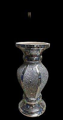 Silver Vase Romany Mirrored Crush Mosaic Finish Italian 30cm Home Decor • 19.99£