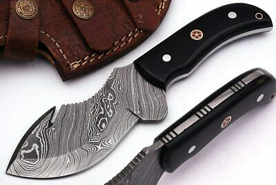 $39.99 • Buy Handmade Damascus Steel Hunting Knife 8 Inches Fix Blade Gut Hook Knife With Lea