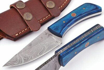 $39.99 • Buy Handmade Damascus Steel Knife Hunting Knife 7.5 Inches With Leather Sheath G-505