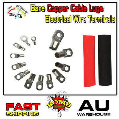 AU11.39 • Buy Cable Lugs Gauge 9AWG-2/0AWG Ring Battery Weld Eyelets + Heat Shrink Tube Wraps