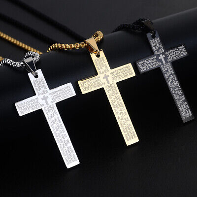 Men Gold Stainless Steel Christ Jesus Bible Cross Pendant Necklace Chain 24  • 4.69£