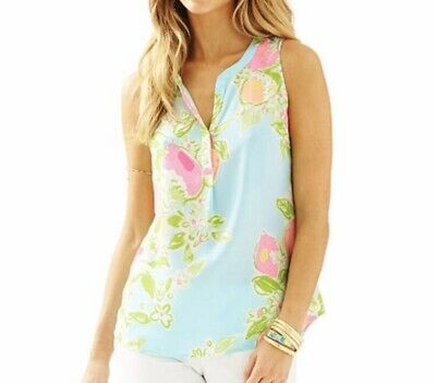 $29.95 • Buy Lovely Lilly Pulitzer Pool Pink Blue Lemonade Sleeveless Silk STACEY Top Sz S