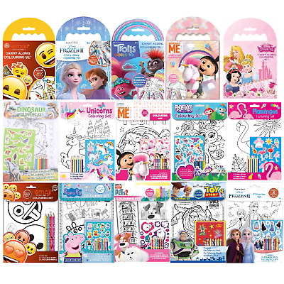£4.99 • Buy Carry Along Colouring Book Kids Mini Crayon Set Travel Fun Activity Pack Gift