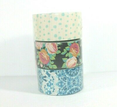 $13.50 • Buy 3 Pack Rolls Duct Tape Duck Brand Floral Dot Graphic Designer Patterned 10 Yards
