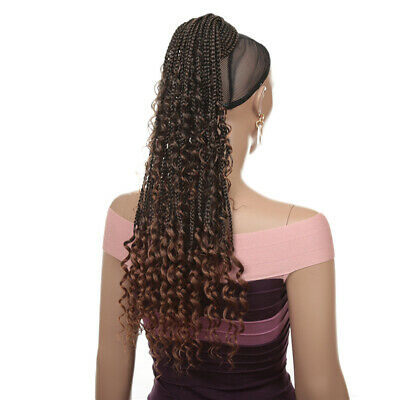 £13.39 • Buy Long Braided Ponytail Clip In Curly Faux Locs Hairpiece Braiding Hair Extensions