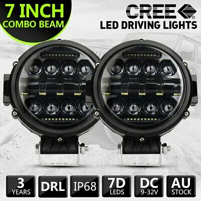 AU95.99 • Buy Pair 7 Inch Round LED Work Light Spot Combo Lamp DRL Driving Reserve Offroad 4x4