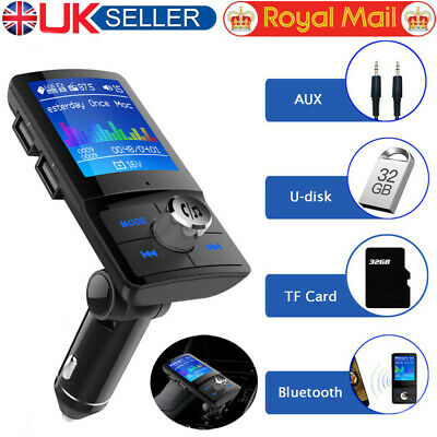 In-Car Bluetooth Handsfree Kit FM Transmitter MP3 Player 2 USB Charger 1.8  LCD • 11.99£