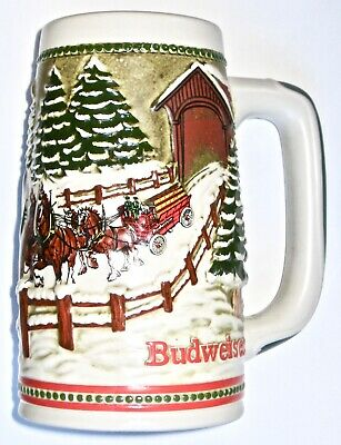 $ CDN12.54 • Buy 1984 Budweiser *STEIN* Clydesdales Covered Bridge LIMITED Holiday EDITION!