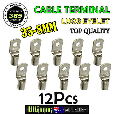 AU15.19 • Buy 12x Cable Lugs 35-8mm Copper Battery Wire 35mm2 2AWG Eyelet Terminals Connector