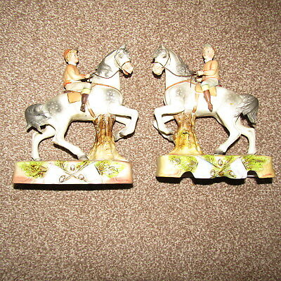 Vintage Antique Porcelain Ceramic TWO Horse Figurines Pottery 8 Inch High  • 55£