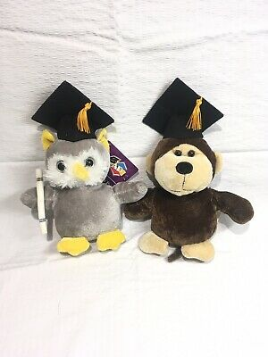 $ CDN11.99 • Buy Lot Of 2 Graduation Plushes Owl And Monkey Plush Diploma And Cap