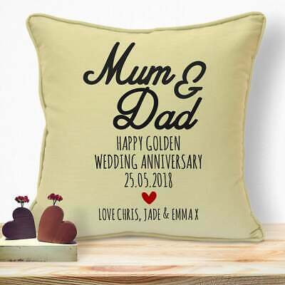 Personalised First Wedding Anniversary Gifts For Him Mum Dad Parents Cushion #42 • 10.99£