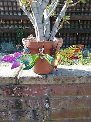 Garden Ornament Metal And Glass  Dragonflys • 3£