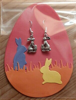 £2.50 • Buy Tibetan Silver Easter Rabbit Earrings - Hand Crafted Ideal Present
