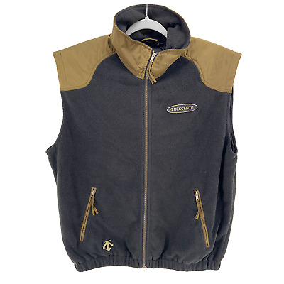 $31.98 • Buy Descente Vest Mens XL Vintage 90s Black And Gold Full Zip Ski Vest Rubber Logo
