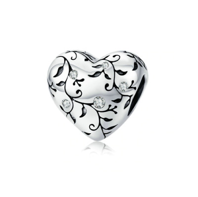 AU26.99 • Buy SOLID Sterling Silver Sparkling Floral Vine Heart Charm By Pandora's Wish