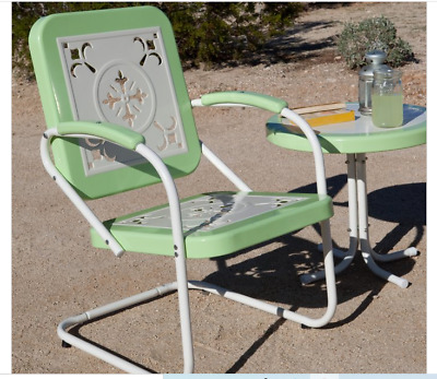 $127.99 • Buy Outdoor Green Patio Metal Chair Deck Porch Garden Pool Furniture Retro Modern
