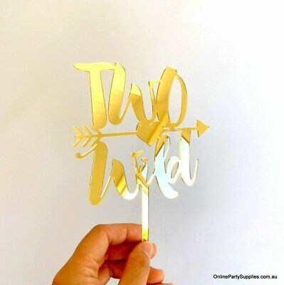 AU22.99 • Buy Gold Mirror Acrylic Two Wild Arrow Cake Topper 2nd Birthday Party Decorations