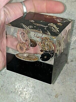$ CDN148.87 • Buy Vintage Watch Maker Parts Embedment In Lucite Block Cube Paperweight Rare 2 3/8