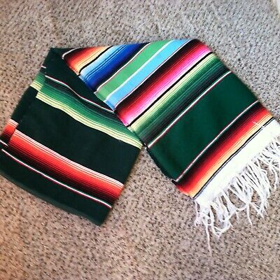Mexican Serape Blanket Green Red Blue Southwest Yoga Saltillo Striped 82x 60  XL • 18.09£