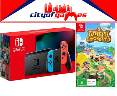 AU559.95 • Buy Nintendo Switch Neon Blue And Red Joy-Con Console & Animal Crossing New Horizons
