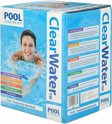 Clearwater Pool Chemical Starter Kit Includes Chlorine PH+ PH- Algaecide &Strips • 109.99£