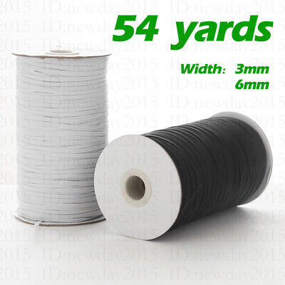 $ CDN10.89 • Buy 54 Yards White Black Elastic Band String Sewing Cord String 1/8 1/4 Inch