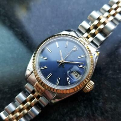 $ CDN4903.20 • Buy ROLEX Ladies 18k Gold & Ss Oyster Date Blue Dial, C.1984 W/Box And Paper LV973