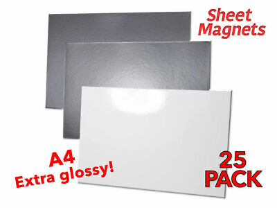 £37.98 • Buy 25 PACK   A4 Sheet Magnets   WHITE GLOSS   Magnetic Photo Paper   Whiteboard