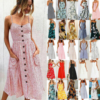 Women Holiday Beach Midi Dress Ladies Summer Strappy Button Pockets Sun Dresses • 15.04£