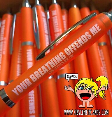 £2.95 • Buy Funny Novelty Banter Humour Obscenity Pens. YOUR BREATHING OFFENDS ME