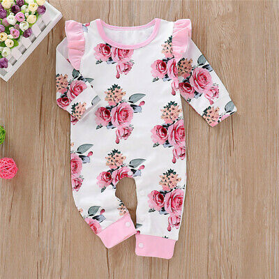 Newborn Infant Baby Girl Floral Clothes Ruffle Jumpsuit Romper Bodysuit Outfits • 8.39£