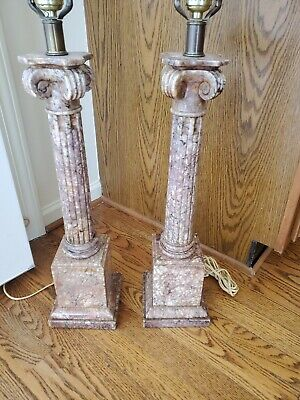 Important Antique Neoclassical Marble Corinthian Column Table Lamps - A Pair • 436.99£