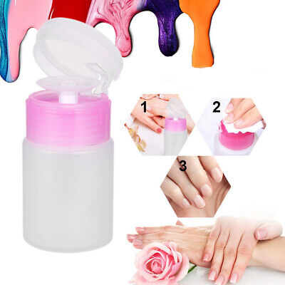 60ML Dispenser Alcohol Nail Liquid Cleaner Empty Manicure Remover Pump Bottle N7 • 2.08£