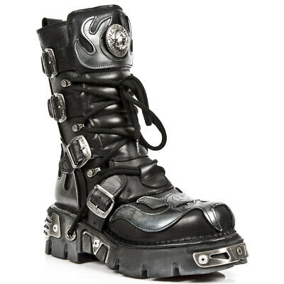 £156.51 • Buy New Rock Men's 107-S2 Leather Boots Silver Skull Devil Goth Punk Metallic Boots