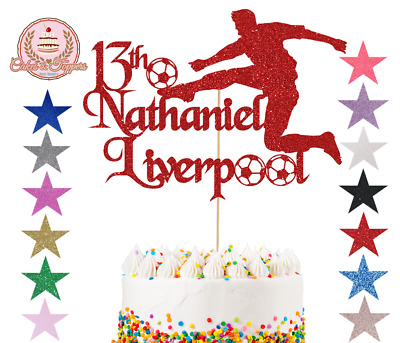 Liverpool Glitter Cake Topper Personalise Happy Birthday Any Name Age Hand Made • 4.99£