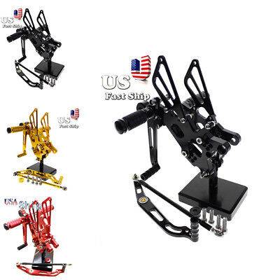 $102.99 • Buy CNC Fit CBR600RR 954RR YZF R1 R6 ZX10R ZX6R Rearsets Footpegs Foot Rest Pedals