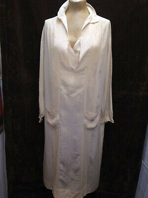 $99 • Buy Vintage 1920's Antique White Silky Rayon Flapper Day Dress Size Medium