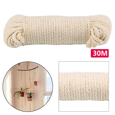 30m Cotton Rope Pulley Clothes Line Traditional Washing Camping 4mm Durable • 4.49£