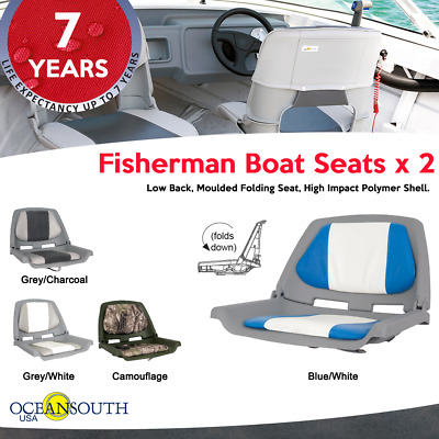 $ CDN116.08 • Buy Oceansouth Fisherman Folding Boat Seats - Blue/White X 2